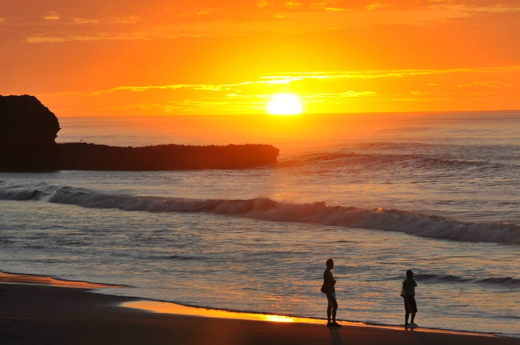 View of El Sunzal Beach at sunrise